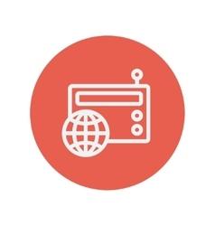 Vintage world radio thin line icon vector image