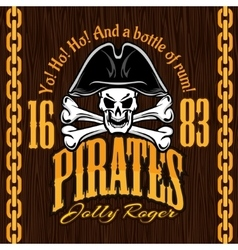Skull in pirate hat - design for badges logos vector