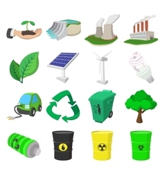 Ecology cartoon icons set vector image
