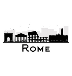 Rome city skyline black and white silhouette vector