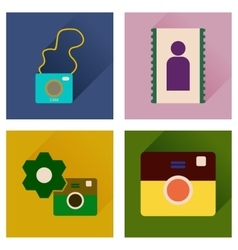 Concept of flat icons with long shadow cameras vector