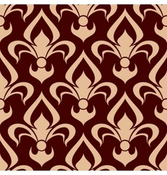 Brown fleur-de-lis seamless floral pattern vector
