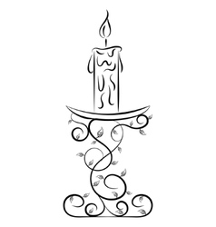 Doodle hand drawn candle vector