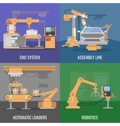 Automated Assembly Icon Set vector image