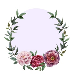 Beautiful watercolor frame with peonies on black vector image vector image