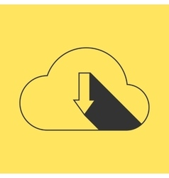 Black outline cloud download on yellow background vector