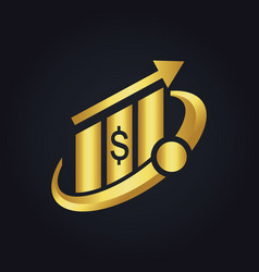 Business finance money arrow gold logo vector