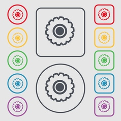 cogwheel icon sign symbol on the Round and square vector image