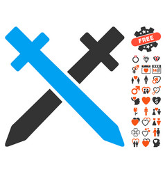 Crossing swords icon with dating bonus vector