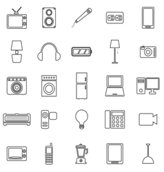 Electrical machine line icons on white background vector
