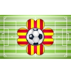Football field with ball and flower vector image vector image
