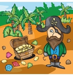 Fun cartoon pirate with treasure vector