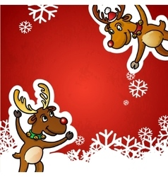 Funny cute reindeer christmas red vector