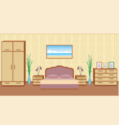 Gracefull bedroom interior in light colors with vector
