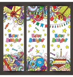 Happy Birthday greeting banners with celebration vector image