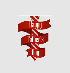happy fathers day striped red tie with ribbon vector image vector image