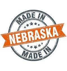 Nebraska orange grunge ribbon stamp on white vector