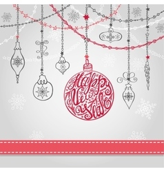 New year card with ballgarlandsribbon vector image