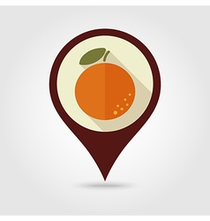 Orange flat pin map icon tropical fruit vector