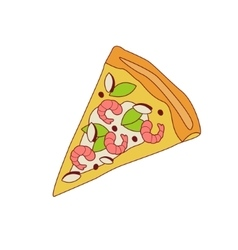 Pizza slice with shrimps vector