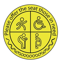 Please offer the seat those in need vector image vector image