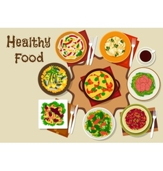 Salad dishes and healthy snack food icon vector
