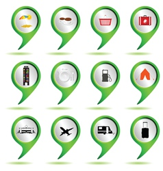 set of green map pointer with travel sign vector image