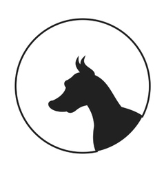 Silhouette of a dog head doberman pinscher vector image vector image