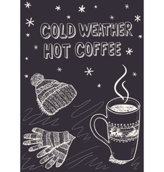 Sketch background for a winter coffee vector image vector image