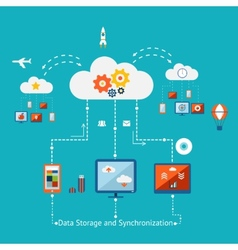 Storage and Synchronization vector image vector image