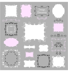 Vintage frames and decoration elements vector image vector image
