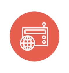 Vintage world radio thin line icon vector image
