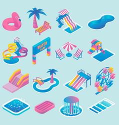 Water park flat isometric icon set vector