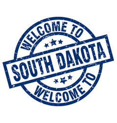 welcome to south dakota blue stamp vector image vector image