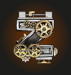Z letter with gears vector