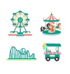Amusement park color sings set vector