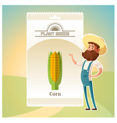 Pack of corn seeds icon vector