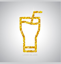 Golden cocktail flat icon long island ice tea vector