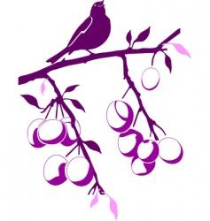 bird on a plum branch vector image