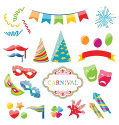 Set colorful objects of carnival party birthday vector