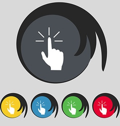 Click here hand icon sign symbol on five colored vector