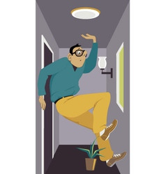 Man in a tiny apartment vector