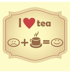 I love tea retro icon vector