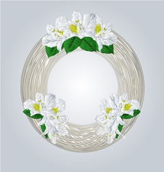 Wreath with white rhododendrons greeting card vector