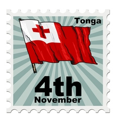 Post stamp of national day of tonga vector