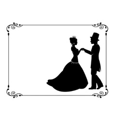 Loving couple in period costumes vector