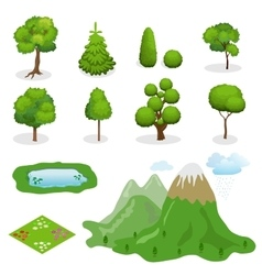 Flat 3d Isometric trees elements for vector image