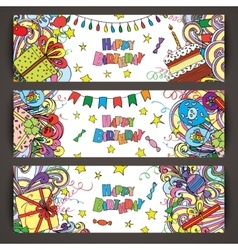 Happy birthday greeting banners with celebration vector