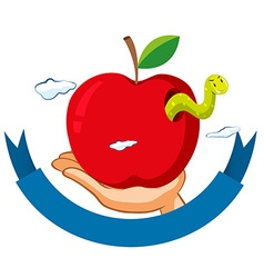 Worm in the red apple vector image