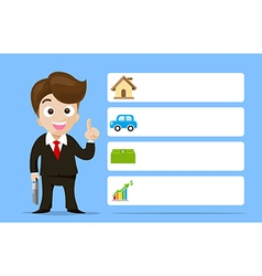 Business man cartoon smile showing the finger with vector